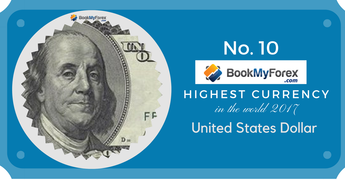 Highest Currency Rank 10 USD Highest currency in the world 2017 August Edition